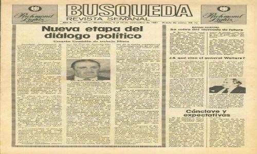 Primer tapa del Semanario Búsqueda, correspondiente a setiembre de 1981