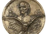 Medallón circular o clípeo con el busto del General Artigas